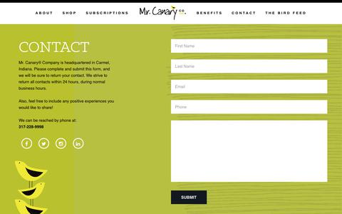 Screenshot of Contact Page mrcanary.com - The Mr. Canary Company - captured Oct. 18, 2018