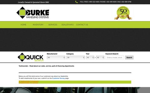 Screenshot of Testimonials Page burkehandling.com - Industrial Equipment Testimonials | Read about our Mississippi dealership's sales, service & parts departments. Forklifts, lift trucks & more. - captured Nov. 13, 2018