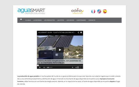 Screenshot of Menu Page aguasmart.com - Aguasmart ES - captured Nov. 2, 2014