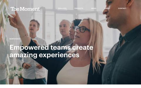 Screenshot of Services Page themoment.is - Customer Experience Services: Innovation & Service Design - The Moment - captured Feb. 28, 2019