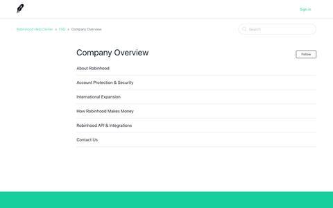Company Overview – Robinhood Help Center