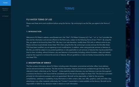 Screenshot of Terms Page fijiwater.com - Terms - FIJI Water - captured Sept. 25, 2014