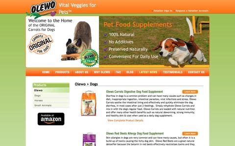 Screenshot of Products Page olewousa.com - Carrots for Dogs - captured March 5, 2016