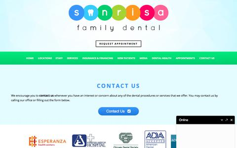 Screenshot of Contact Page sonrisafamilydental.com - Contact Little Village Dentist | Contact Dentist in Gage Park | Back of the Yards Contact Dentist - captured Sept. 21, 2018
