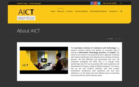Screenshot of About Page aict.wa.edu.au - About Us | AICT - captured Feb. 4, 2016