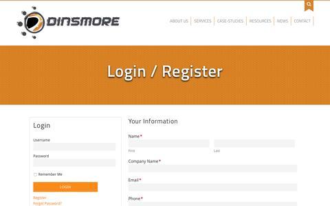 Screenshot of Login Page dinsmoreinc.com - Login / Register - Dinsmore, Inc. - captured July 23, 2016