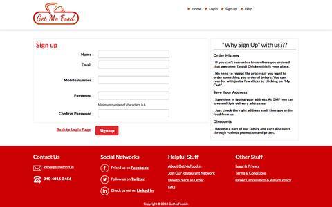 Screenshot of Signup Page getmefood.in - Food Home Delivery Hyderabad | Order Food Online |Hyderabad | GetMeFood - captured Aug. 5, 2015