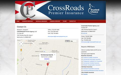 Screenshot of Contact Page Maps & Directions Page crossroadspremier.com - Contact Us    Crossroads Premier Insurance Agency - captured Oct. 22, 2014