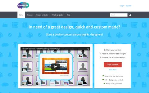 Screenshot of Home Page crowdsite.com - Do you need a logo or other graphic design? - captured Jan. 23, 2015