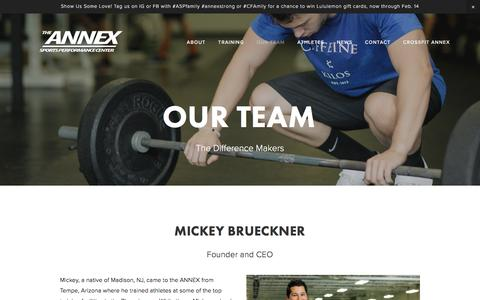 Screenshot of Team Page annexsportsperformance.com - OUR TEAM — The Annex Sports Performance Center - captured Feb. 6, 2016