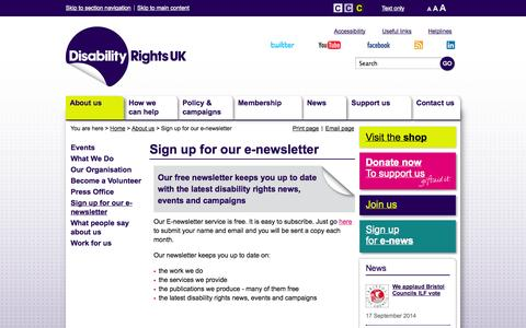 Screenshot of Signup Page disabilityrightsuk.org - Sign up for our e-newsletter | Disability Rights UK - captured Sept. 18, 2014