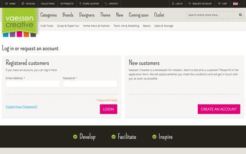 Screenshot of Login Page vaessen-creative.com - Customer Login - captured Dec. 10, 2018