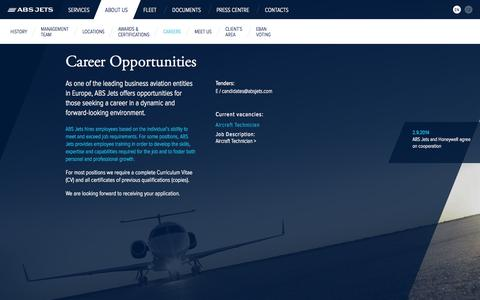 Screenshot of Jobs Page absjets.com - Career Opportunities / ABS Jets – Executive Jets Operator - captured Sept. 30, 2014