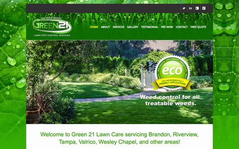 Screenshot of Home Page green21lawn.com - Welcome to Green 21 Lawn Care servicing Brandon, Riverview, Tampa, Valrico, Wesley Chapel, and other areas! - captured Oct. 3, 2014