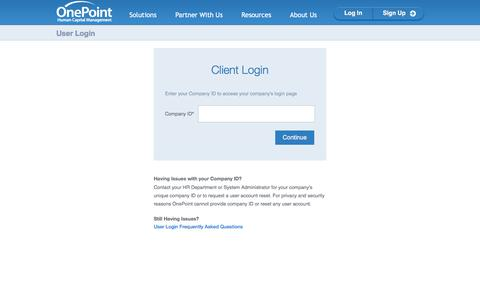 User Login | OnePoint Human Capital Management