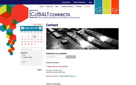 Screenshot of Contact Page cobaltconnects.ca - Contact | CoBALT Connects - captured Dec. 10, 2015