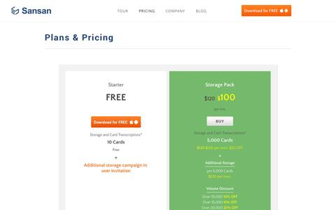 Screenshot of Pricing Page sansan.com - Plans & Pricing | Sansan | The Business Card Box for your team - captured Sept. 17, 2014