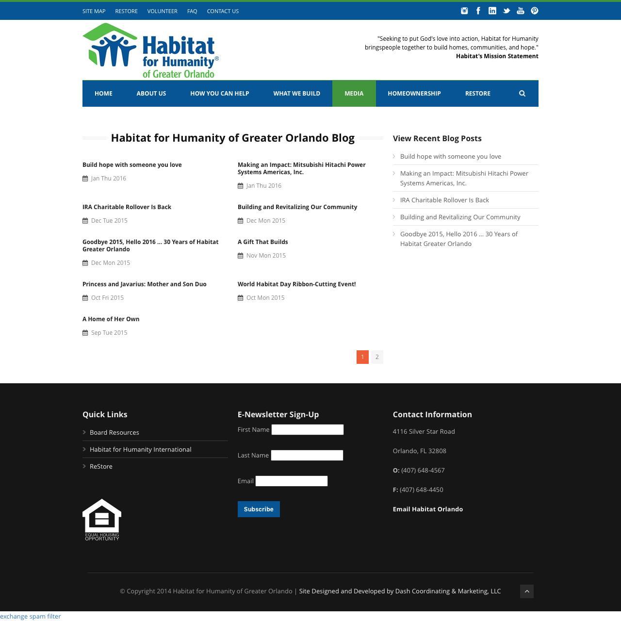 Screenshot of habitat-orlando.org - Habitat for Humanity of Greater Orlando   » Habitat for Humanity of Greater Orlando Blog - captured Jan. 24, 2016