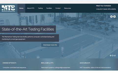 Screenshot of Home Page mechanicaltestingservices.com - MTS - Mechanical Testing Services: Oil & Gas Equipment Testing - captured Oct. 6, 2014
