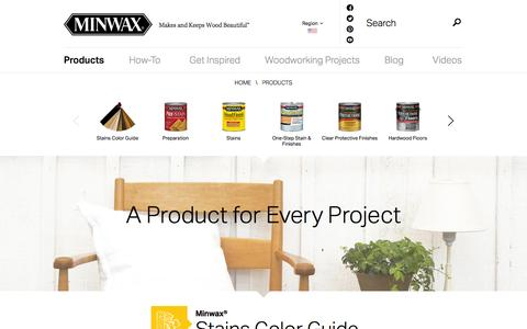 Screenshot of Products Page minwax.com - Woodworking Products - Wood Stain, Wood Finishing, Wood Care | Minwax - captured Nov. 4, 2014