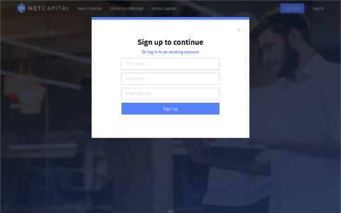 Screenshot of Signup Page netcapital.com - Netcapital: Equity Crowdfunding - captured Nov. 29, 2016