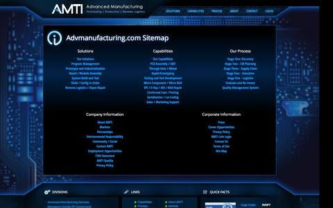 Screenshot of Site Map Page advmanufacturing.com - Sitemap - captured Oct. 4, 2014