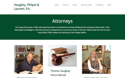 Screenshot of Team Page hpllaw.com - Attorneys | Haughey, Philpot & Laurent: A New Hampshire Law Firm - captured Sept. 20, 2017