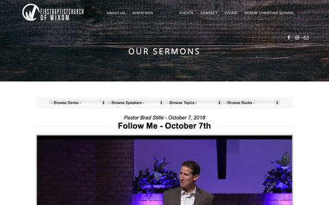 Screenshot of Press Page fbcwixom.org - Our Sermons – FBC Wixom - captured Oct. 18, 2018