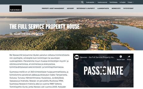 Screenshot of Home Page newsec.fi - The Full Service Property House - captured Nov. 12, 2018