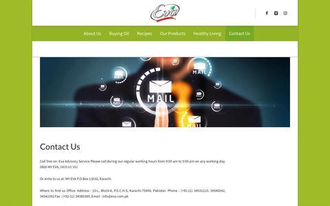Screenshot of Contact Page eva.com.pk - Contact Us - Eva Cooking Oil - captured Oct. 27, 2017