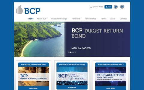 Screenshot of Home Page bcp.ie - BCP Asset Management - captured Feb. 7, 2016