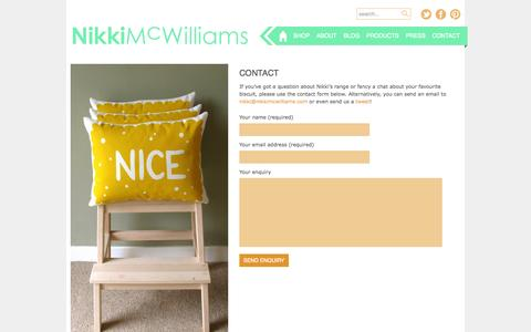 Screenshot of Contact Page nikkimcwilliams.com - Contact Information for Nikki McWilliams Design - captured Oct. 7, 2014