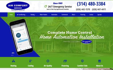 Screenshot of Home Page aircomfortservice.com - HVAC Service St Louis, MO, Air Conditioning Service St Charles, MO | Heating Repair Saint Peters, MO | Heating Service & Furnace Installation - captured Nov. 12, 2016