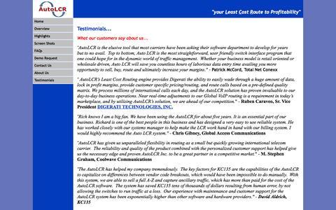 Screenshot of Testimonials Page autolcr.com - AutoLCR - Testimonials - captured Oct. 4, 2014