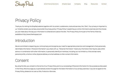 Screenshot of Privacy Page theshoppad.com - Privacy Policy | ShopPad - captured Sept. 22, 2018