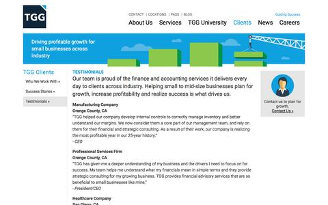 Screenshot of Testimonials Page tgg-accounting.com - Business Growth Strategy | Scale a Business | TGG Accounting - captured April 6, 2016