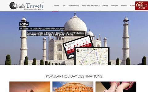 Screenshot of Home Page abishtravels.com - India Tours  Rajasthan Tour Packages  Car Rental in Delhi  Golden Triangle Tours - captured Sept. 22, 2014