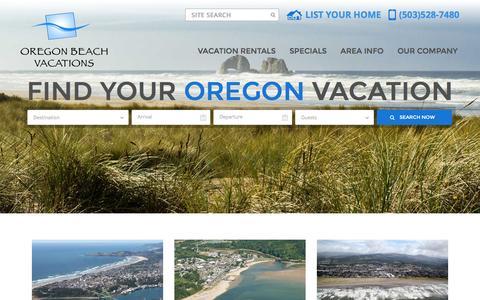 Screenshot of Home Page oregonbeachvacations.com - Oregon Coast Vacation Rentals | Oregon Beach Vacations - captured Jan. 11, 2016