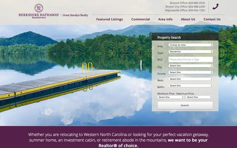 Screenshot of Home Page 4smokys.com - Great Smokys Realty | Real Estate In Sylva, Bryson City and Smoky Mountains of North Carolina - captured Feb. 2, 2016