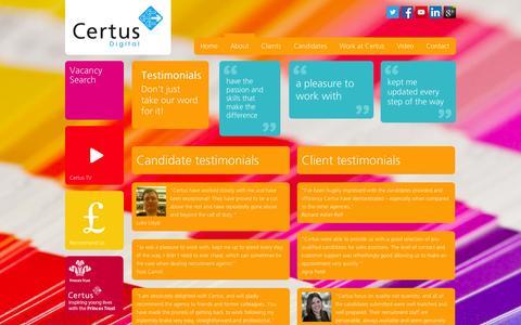Screenshot of Testimonials Page certusdigital.co.uk - Testimonials » Testimonials » Certus Digital - captured Oct. 2, 2014