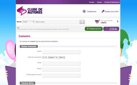 Screenshot of Signup Page clubedeautores.com.br - Clube de Autores - captured Oct. 7, 2018