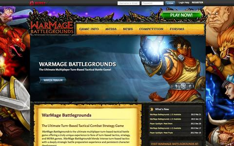 Screenshot of Home Page warmagebattlegrounds.com - Multiplayer Turn Based Tactical Combat Strategy Game | WarMage Battlegrounds - captured Sept. 12, 2014