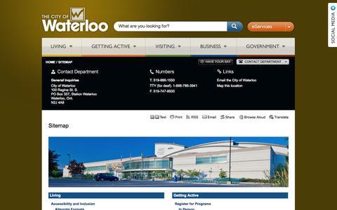 Screenshot of Site Map Page waterloo.ca - Sitemap - City of Waterloo - captured Oct. 2, 2014