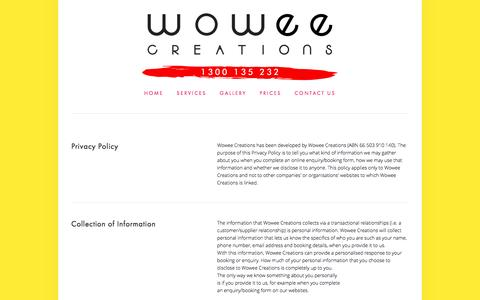 Screenshot of Privacy Page wowee.com.au - Wowee Creations— Privacy Policy - captured April 12, 2017