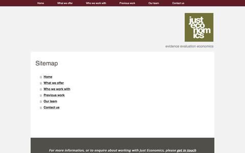 Screenshot of Site Map Page justeconomics.co.uk - Sitemap - Just Economics - captured Nov. 27, 2016