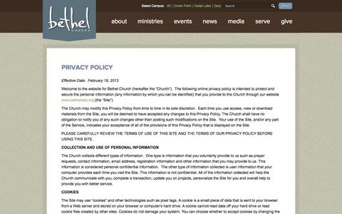 Screenshot of Privacy Page bethelweb.org - Privacy Policy - Bethel Church and Ministries - captured Oct. 8, 2014