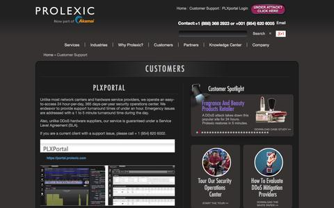 Screenshot of Support Page prolexic.com - Customer Support - captured Sept. 12, 2014