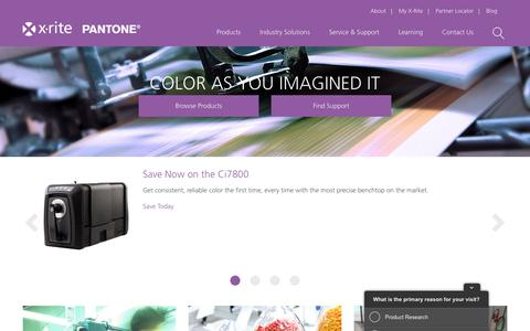 Screenshot of Home Page xrite.com - Color Management System, Services & Software from X-Rite - captured Sept. 8, 2016
