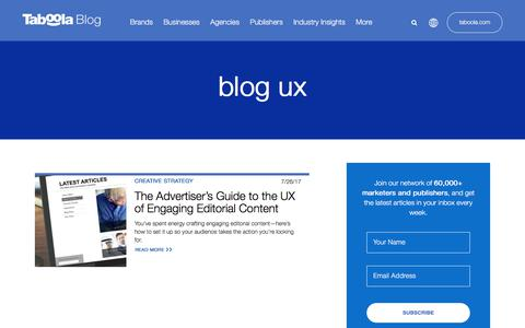 Screenshot of Blog taboola.com - blog ux Archives - Taboola Blog - captured April 13, 2018