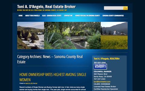 Screenshot of Press Page tonirealtor.com - News - Sonoma County Real Estate Archives - Toni A. D'Angelo, Real Estate Broker - captured Oct. 7, 2014